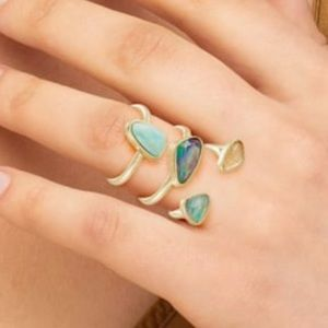 Kendra Scott 💚 Ivy Gold Ring Set In Sea Green Mix